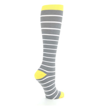 Image of Gray Yellow White Stripes Women's Compression Dress Socks (side-1-23)