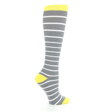 Image of Gray Yellow White Stripes Women's Compression Dress Socks (side-1-24)