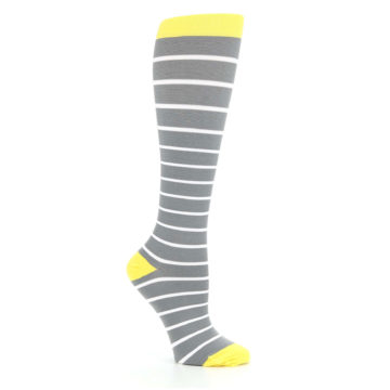 Image of Gray Yellow White Stripes Women's Compression Dress Socks (side-1-26)