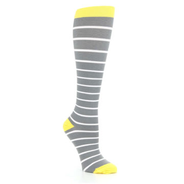 Image of Gray Yellow White Stripes Women's Compression Dress Socks (side-1-27)