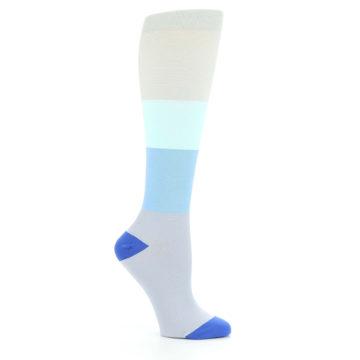 Image of Aqua Gray Blue Women's Compression Dress Socks (side-1-26)