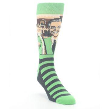 Image of Mister Rogers Neighborhood Socks – Green Men's Dress Socks (side-1-front-02)