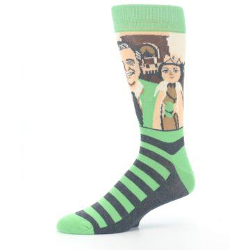 Image of Mister Rogers Neighborhood Socks – Green Men's Dress Socks (side-2-10)