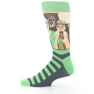 Image of Mister Rogers Neighborhood Socks – Green Men's Dress Socks (side-2-12)