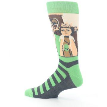 Image of Mister Rogers Neighborhood Socks – Green Men's Dress Socks (side-2-13)