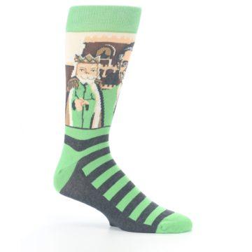 Image of Mister Rogers Neighborhood Socks – Green Men's Dress Socks (side-1-25)