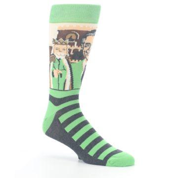 Image of Mister Rogers Neighborhood Socks – Green Men's Dress Socks (side-1-26)