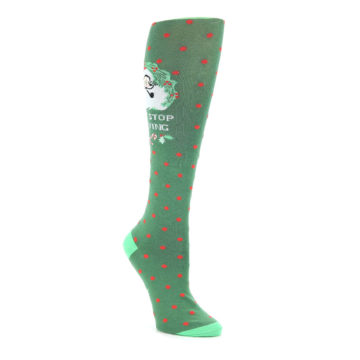e68e89d0afb Image of Green Red Santa Claus Women s Knee High Sock