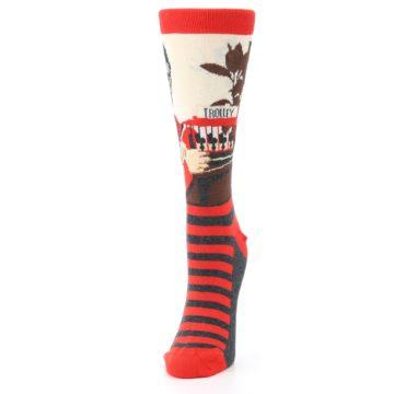 Image of Mister Rogers Socks – Red Women's Dress Socks (side-2-front-07)