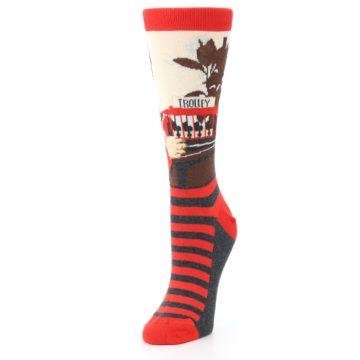 Image of Mister Rogers Socks – Red Women's Dress Socks (side-2-front-08)
