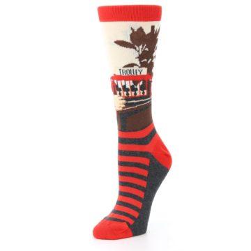 Image of Mister Rogers Socks – Red Women's Dress Socks (side-2-09)