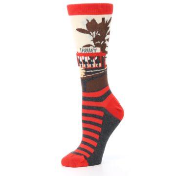 Image of Mister Rogers Socks – Red Women's Dress Socks (side-2-10)