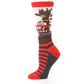 Image of Mister Rogers Socks – Red Women's Dress Socks (side-2-11)