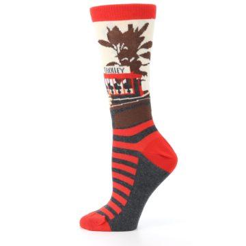 Image of Mister Rogers Socks – Red Women's Dress Socks (side-2-12)