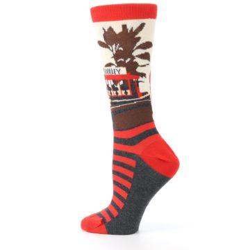 Image of Mister Rogers Socks – Red Women's Dress Socks (side-2-13)