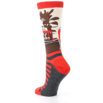 Image of Mister Rogers Socks – Red Women's Dress Socks (side-2-back-15)