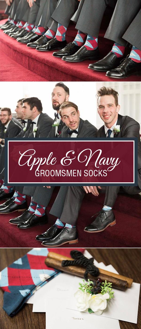 Example of Apple Red Navy Argyle Men's Groomsmen Wedding Dress Socks from boldSOCKS