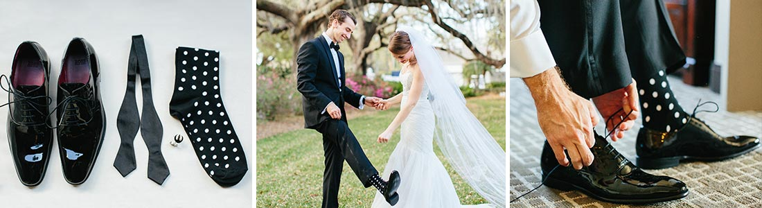 Example of Black and White Groomsmen Wedding Socks from boldSOCKS