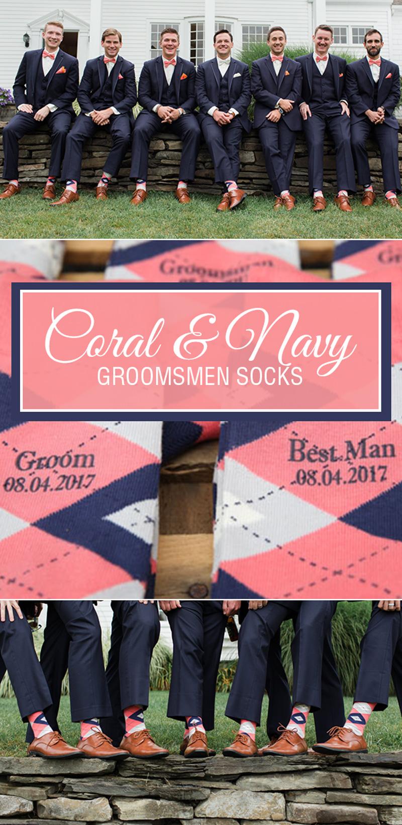 Example of Coral Navy Argyle Men's Groomsmen Dress Socks from boldSOCKS