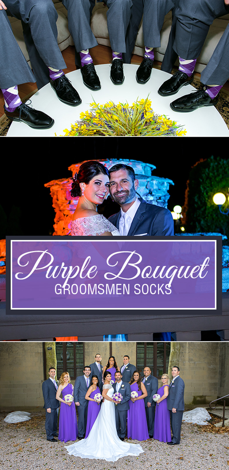 Example of Purple Bouquet Argyle Men's Groomsmen Dress Socks from boldSOCKS