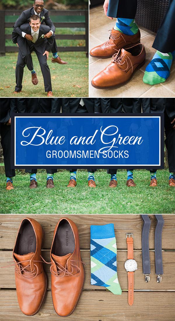 Example of Blue Green Argyle Men's Groomsmen Wedding Dress Socks from boldSOCKS