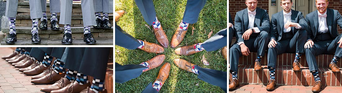 Example of Checkered Groomsmen Wedding Socks from boldSOCKS