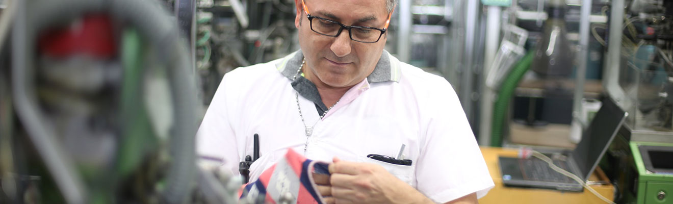Example of Technician Evaluating Our Argyle Socks