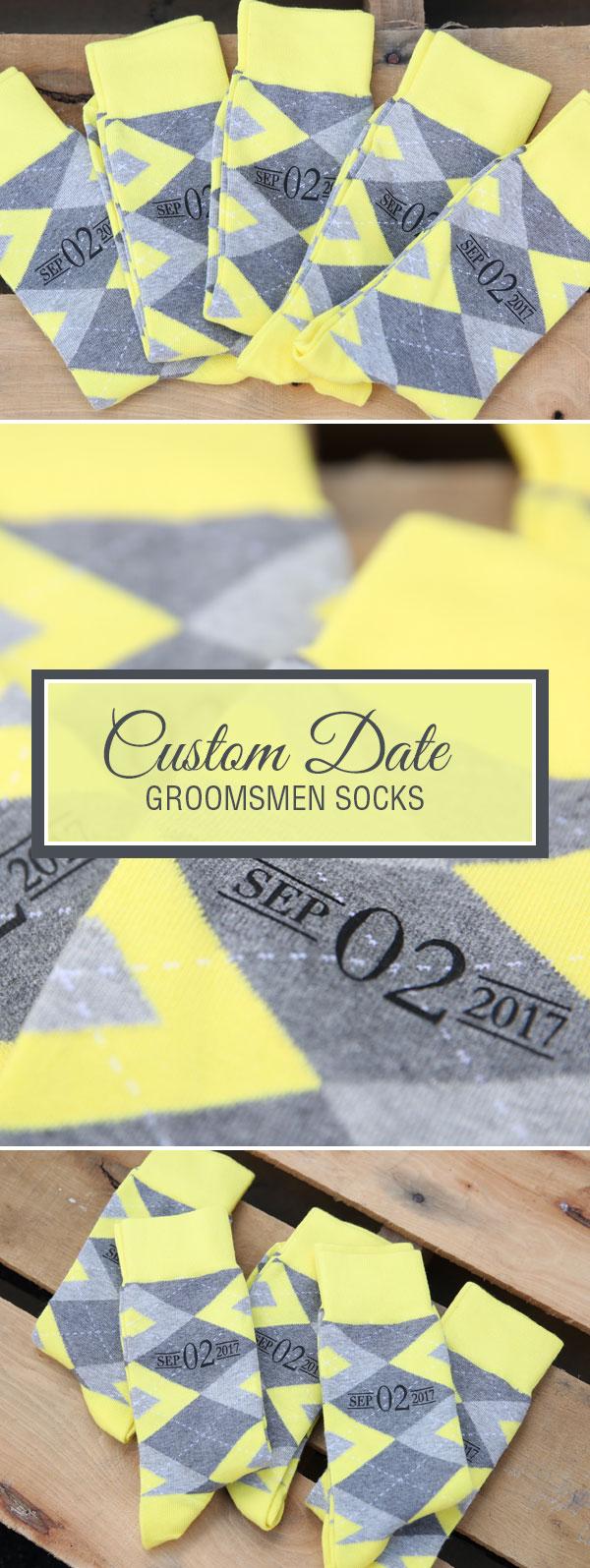 Example of Custom Print Lemon Yellow Gray Argyle Men's Groomsmen Wedding Dress Socks from boldSOCKS