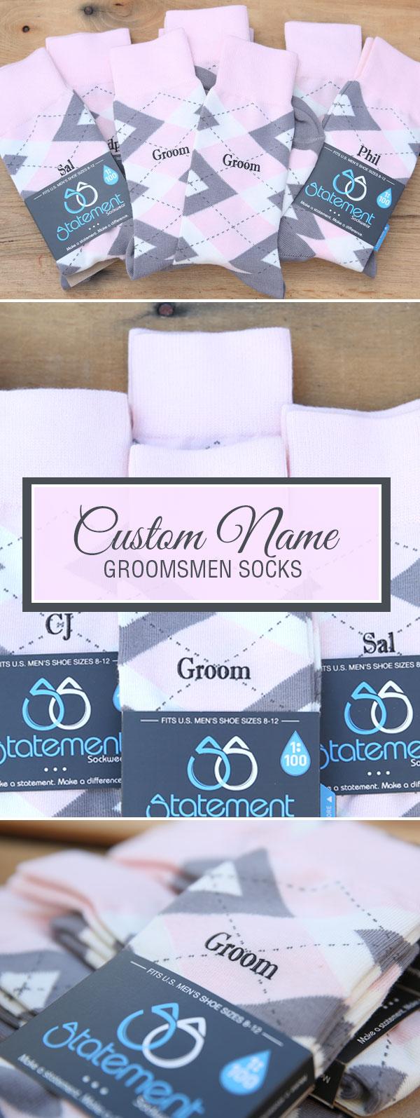 Example of Custom Print Petal Pink Blush Gray Argyle Men's Groomsmen Wedding Dress Socks from boldSOCKS