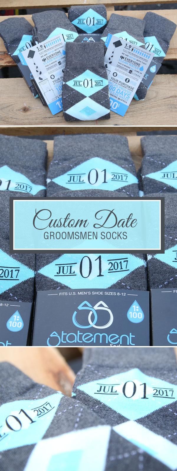 Example of Turquoise Pool Gray Argyle Men's Groomsmen Wedding Dress Socks from boldSOCKS