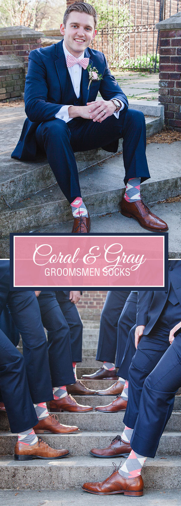 Example of Coral Gray Men's Groomsmen Wedding Dress Socks from boldSOCKS
