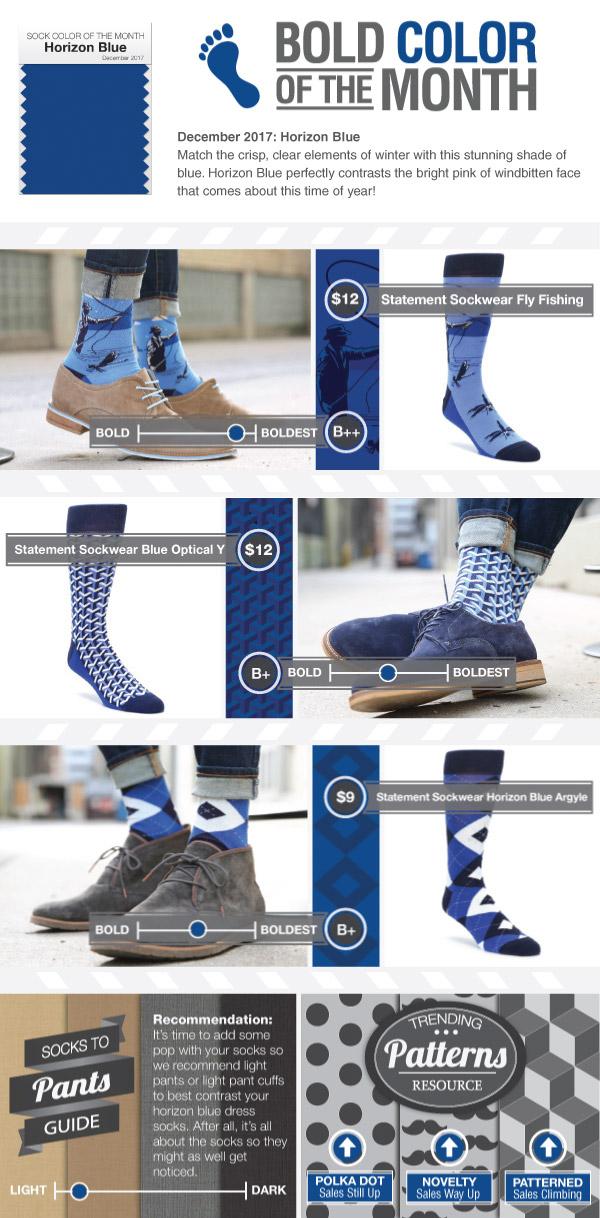 Example of Horizon Blue Dress Socks from boldSOCKS