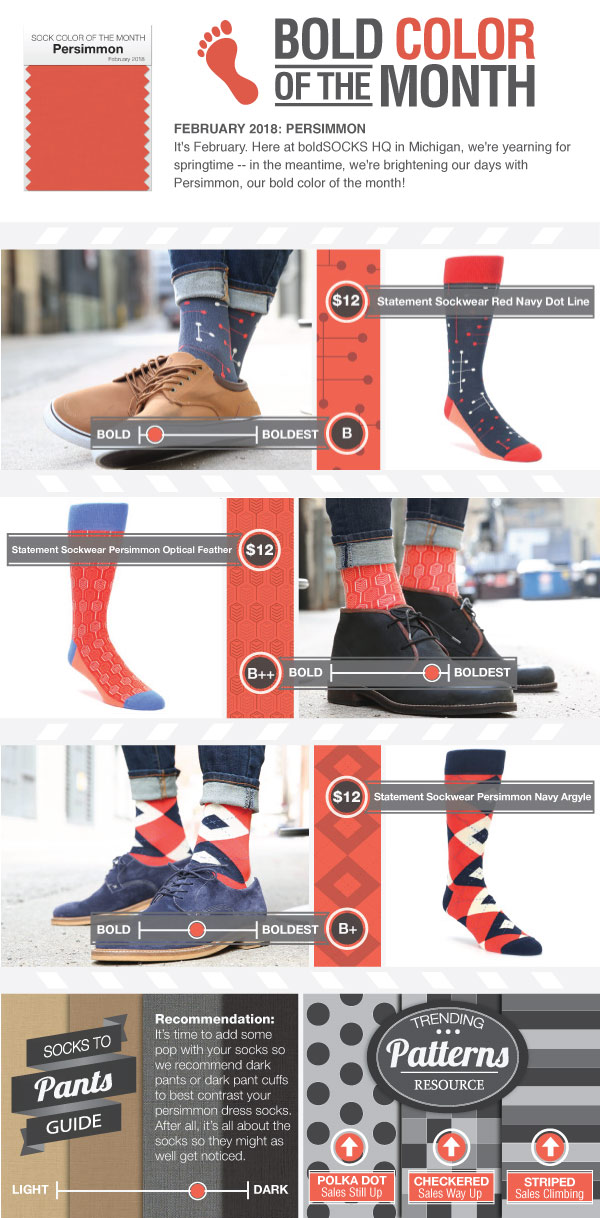 Example of Persimmon Red Dress Socks from boldSOCKS