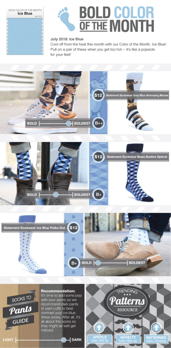 Example of Ice Blue Dress Socks from boldSOCKS