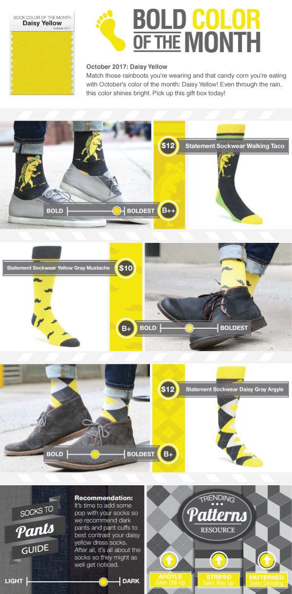 Example of Daisy Yellow Dress Socks from boldSOCKS