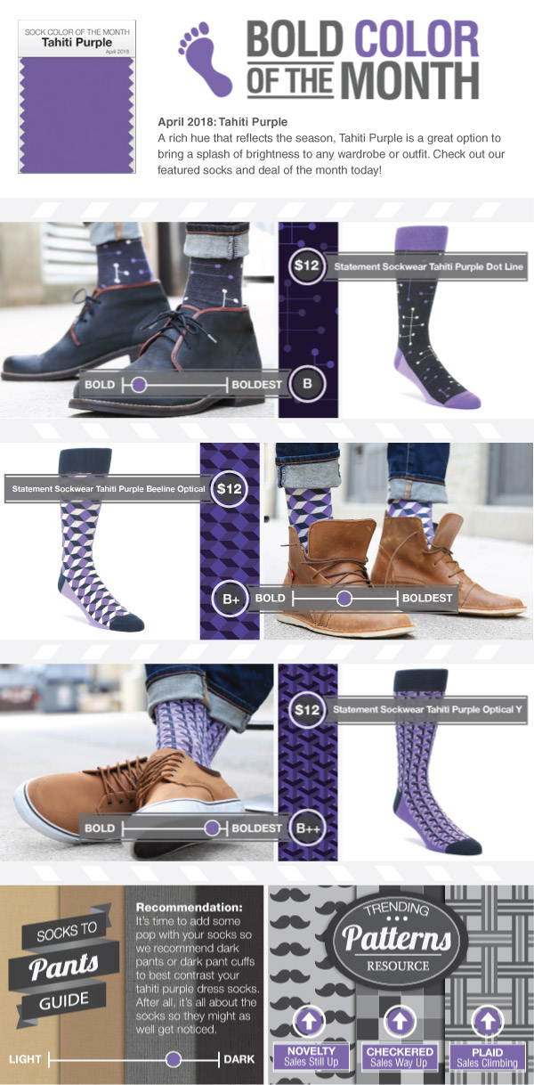 Example of Tahiti Purple Dress Socks from boldSOCKS
