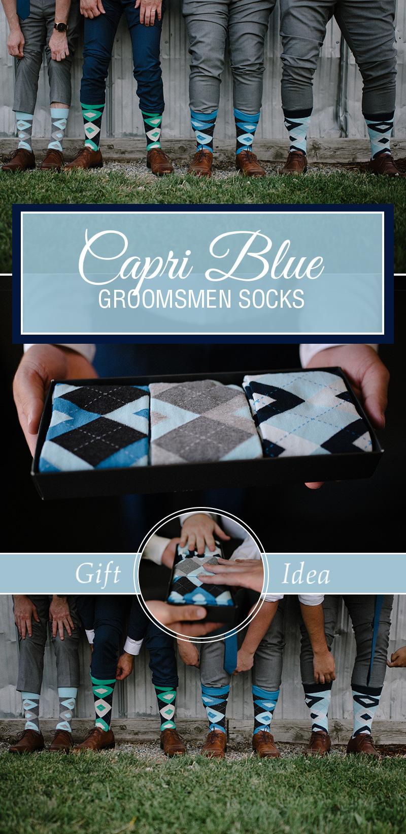 Example of Capri Blue Argyle Men's Groomsmen Dress Socks Gift Box Set from boldSOCKS
