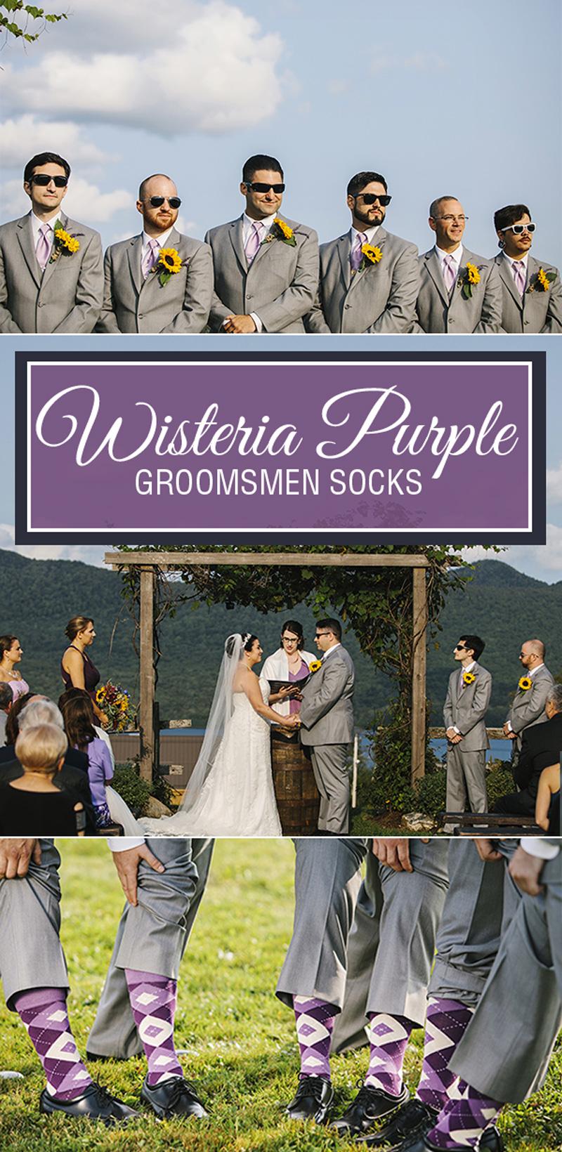 Example of Wisteria Purple Argyle Men's Groomsmen Dress Socks from boldSOCKS