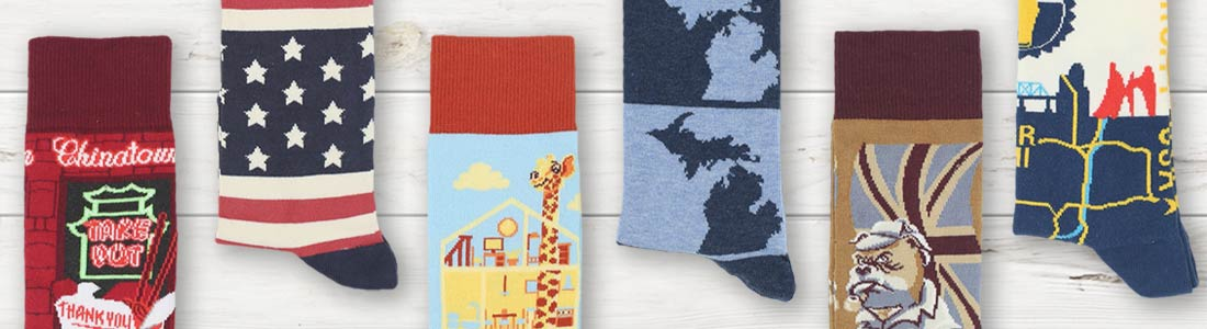 Example of Men's Location & Flag Dress Socks from boldSOCKS