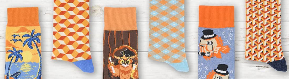 Example of Men's Orange Dress Socks from boldSOCKS