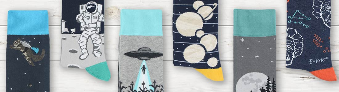Example of Men's Outer Space Novelty Dress Socks from boldSOCKS