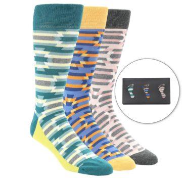 452b093499 Image of Tribal Optical Stripe Men s Dress Socks Gift Box 3 Pack