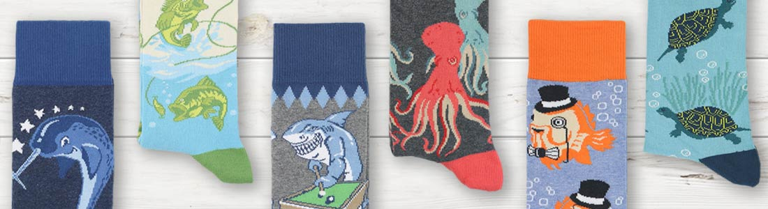 Example of Men's Water Creature Dress Socks from boldSOCKS