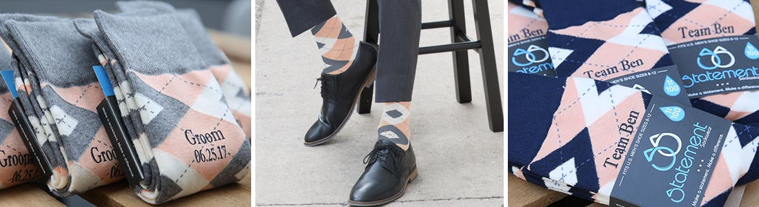 Example of Orange Groomsmen Wedding Socks available from boldSOCKS