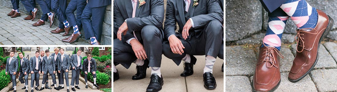 Example of Pink Groomsmen Wedding Socks available from boldSOCKS
