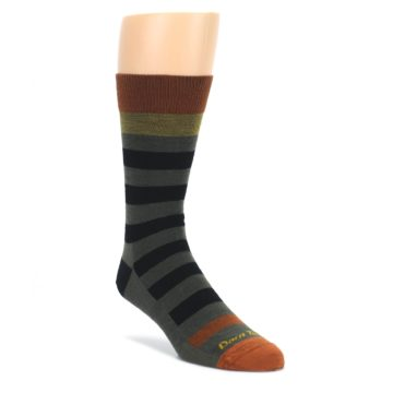 Image of Rust and Green Block Stripe Men's Lifestyle Socks (side-1-front-01)