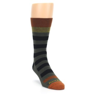 Image of Rust and Green Block Stripe Men's Lifestyle Socks (side-1-front-02)