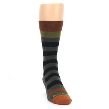 Image of Rust and Green Block Stripe Men's Lifestyle Socks (side-1-front-03)