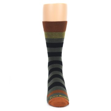 Image of Rust and Green Block Stripe Men's Lifestyle Socks (front-04)