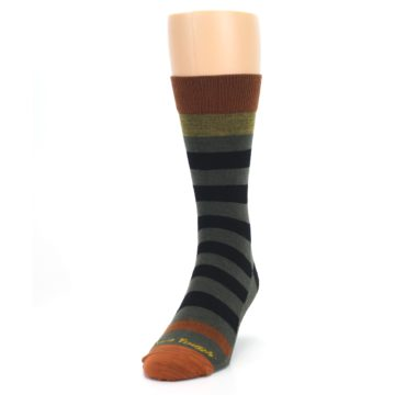 Image of Rust and Green Block Stripe Men's Lifestyle Socks (side-2-front-06)